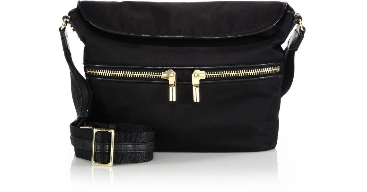 b3d429313b1a Lyst - Elizabeth and James James Small Nylon   Leather Crossbody Hobo Bag  in Black