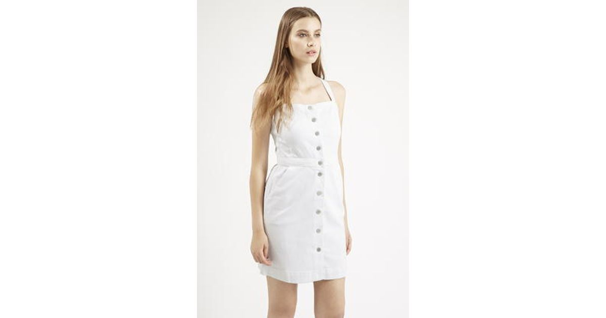 f462efc928 TOPSHOP Moto Denim Pinafore Dress By Reclaim in White - Lyst