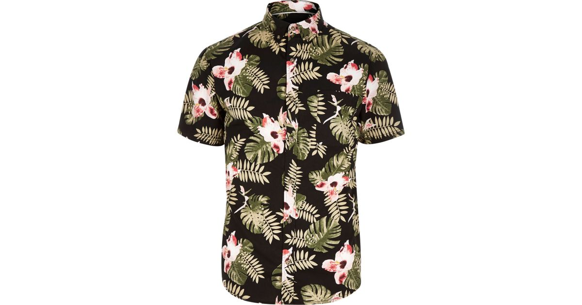 217c916d River Island Black Only & Sons Hawaiian Leaf Print Shirt in Black for Men -  Lyst