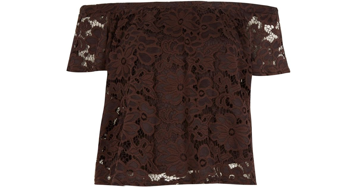 c66e3a88f7c River Island Brown Lace Gypsy Top in Brown - Lyst