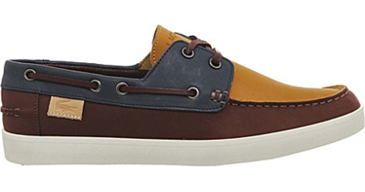 ca33d58d939f Lacoste Keellson Leather Boat Shoes in Brown for Men - Lyst