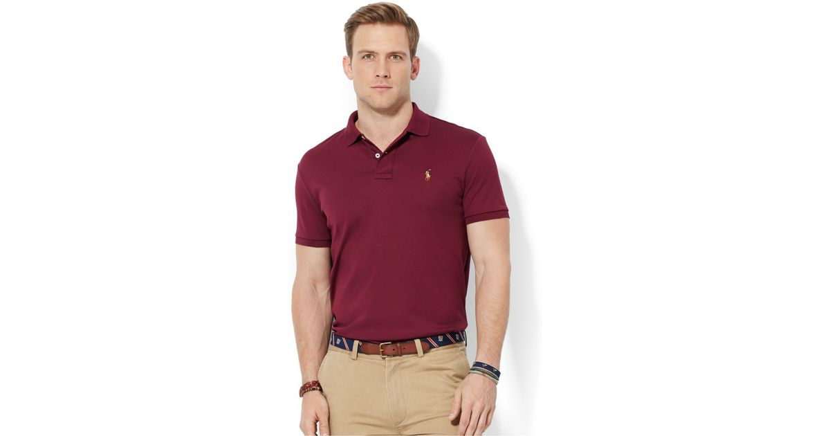 Ralph Lauren Long Sleeved Soft Mesh Men Red Polo