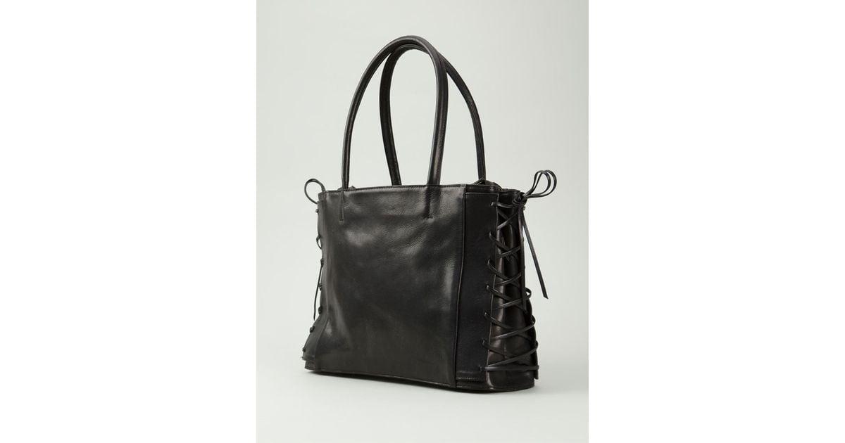 Lyst - Yohji Yamamoto Lace Up Tote Bag in Black f52e42275c90c