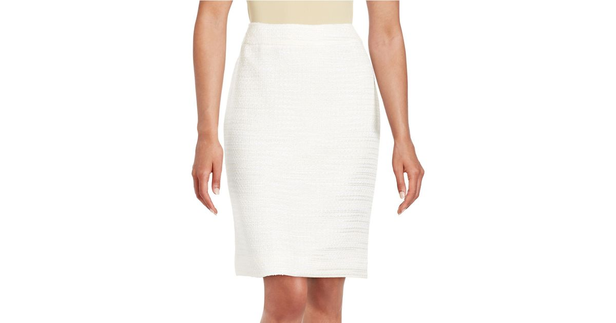 tahari boucle pencil skirt in white lyst
