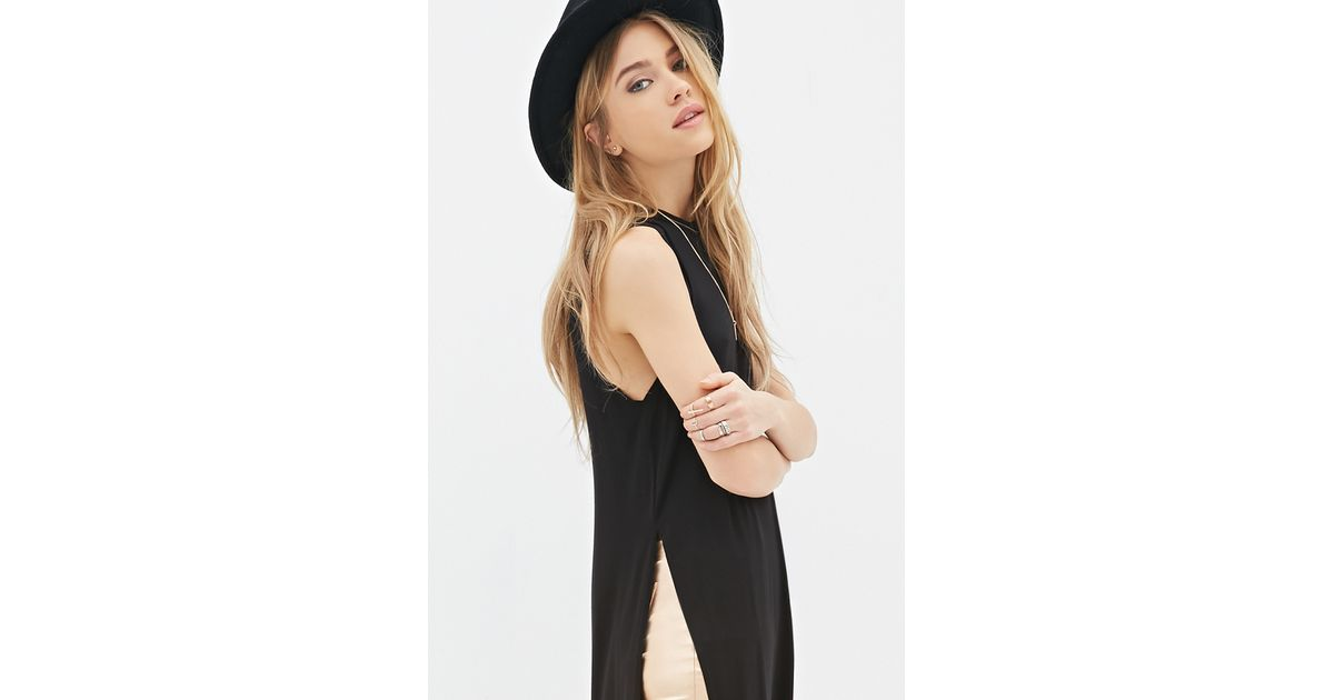 0f1ba11b24ca Lyst - Forever 21 High-slit Midi Dress You've Been Added To The Waitlist in  Black