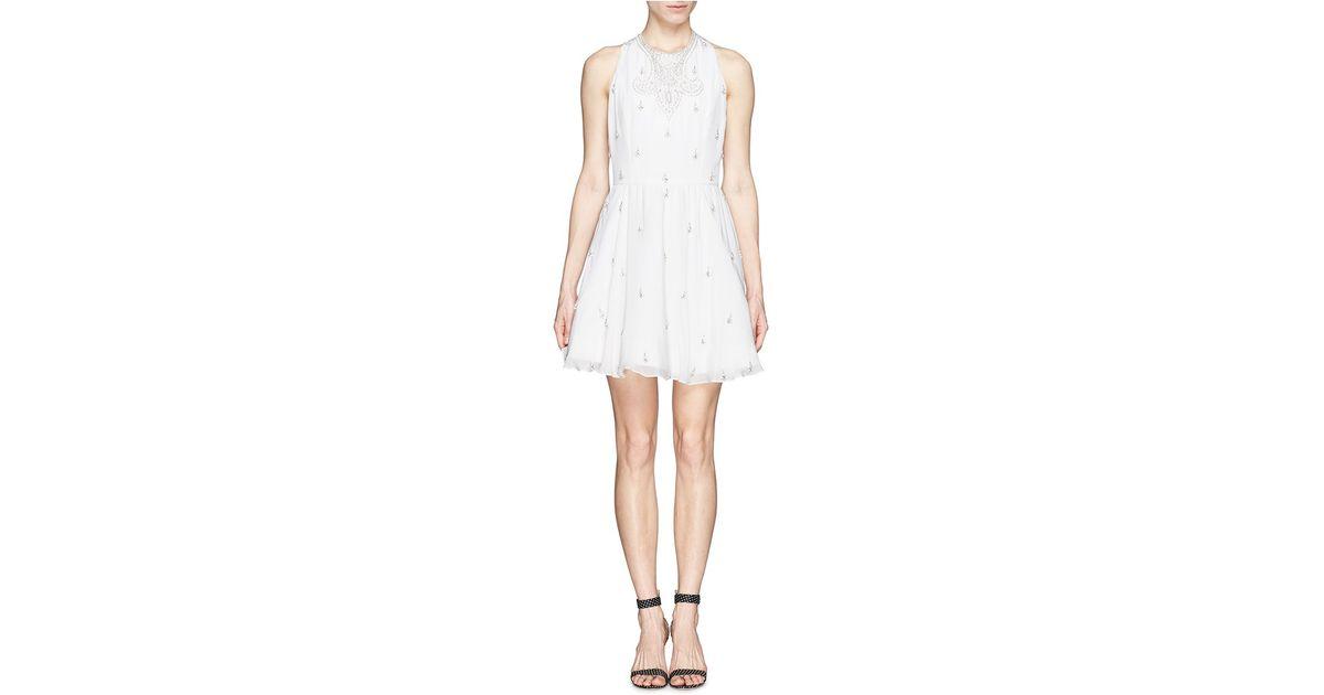 2d15f1ee6fd Lyst - Alice + Olivia  Gilda  Embellished Lace Back Skater Dress in White