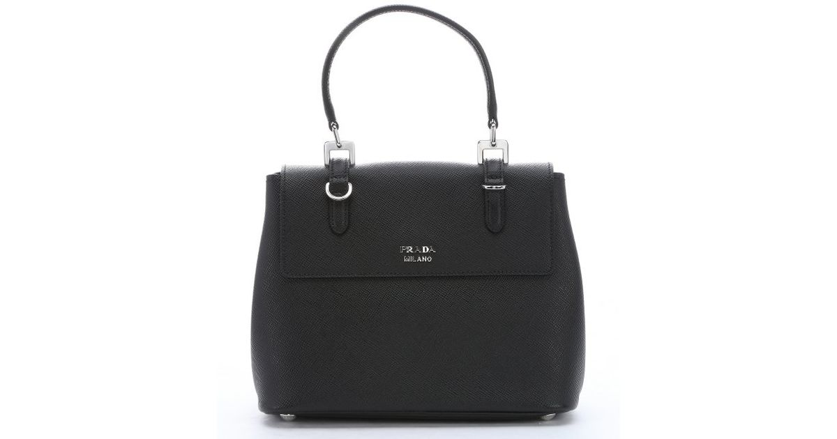 e6bcaa5d31b9 Lyst - Prada Saffiano Leather Convertible Top Handle Bag in Black