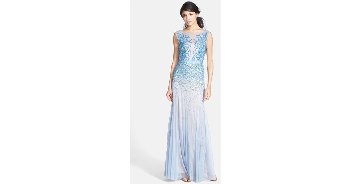 Lyst - Adrianna Papell Beaded Chiffon Gown in Blue