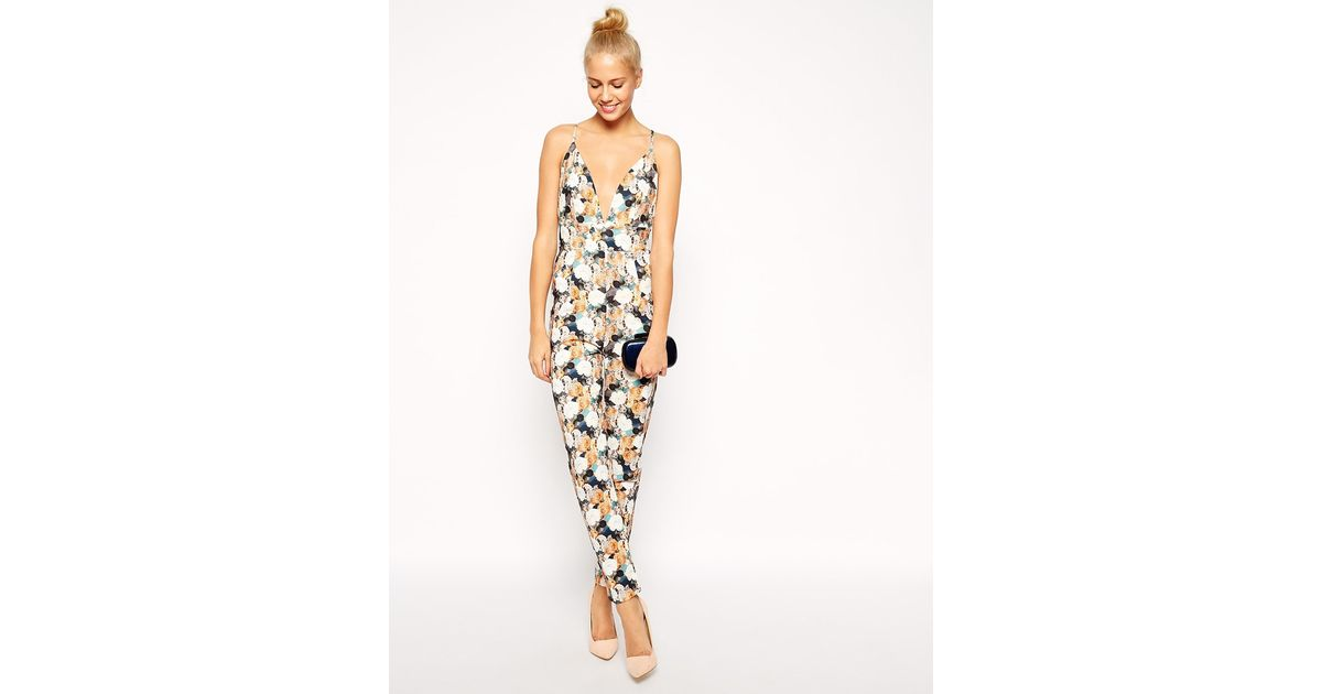 3360002d8a Lyst - Asos Barely There Jumpsuit In Floral Texture
