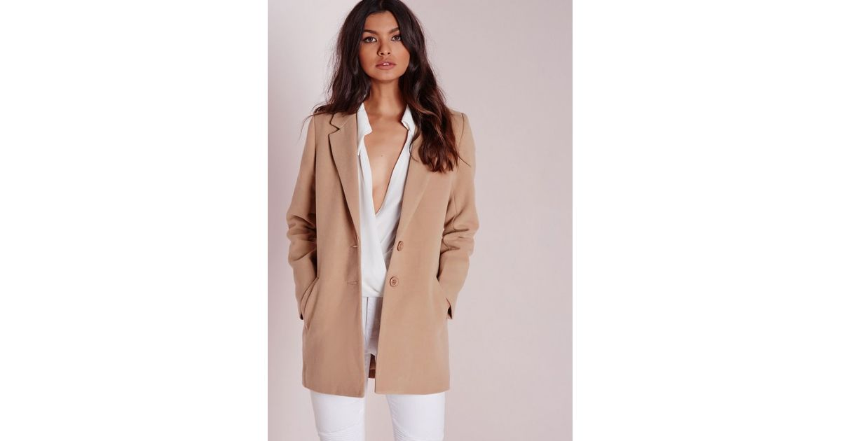 ad6d07ea7cea Missguided Short Faux Wool Coat Camel in Natural - Lyst
