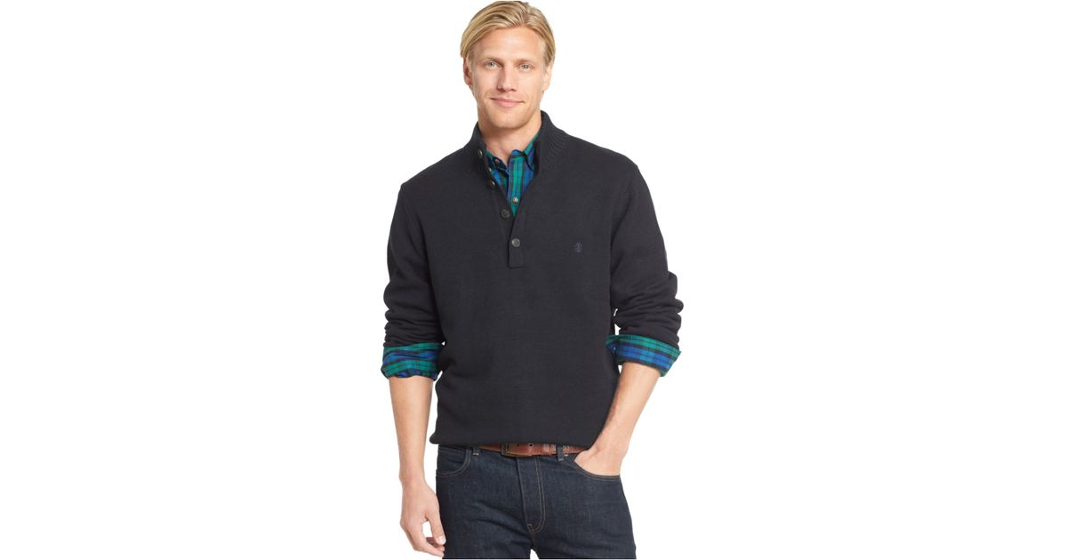 Lyst Izod Button Up Mock Neck Pullover In Black For Men