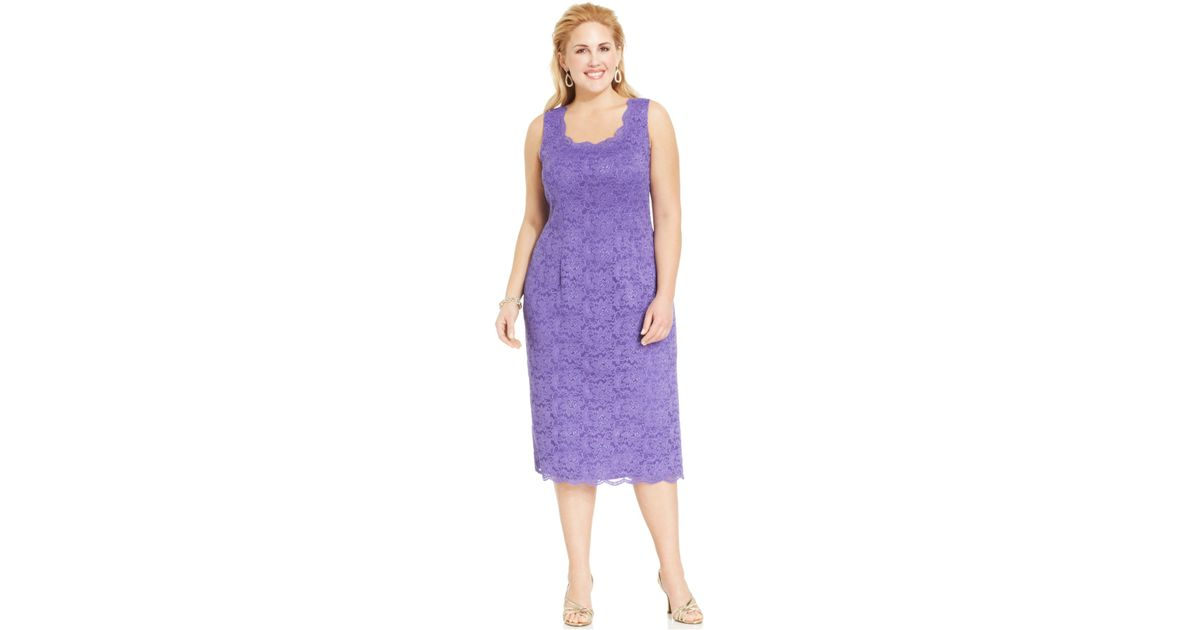 84438b83f76 Lyst - Alex Evenings Plus Size Sequin Lace Dress And Jacket in Purple