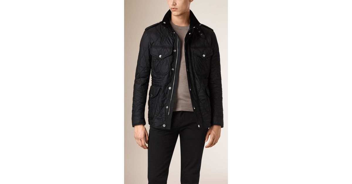 Burberry Diamond Quilted Field Jacket Black In Black For