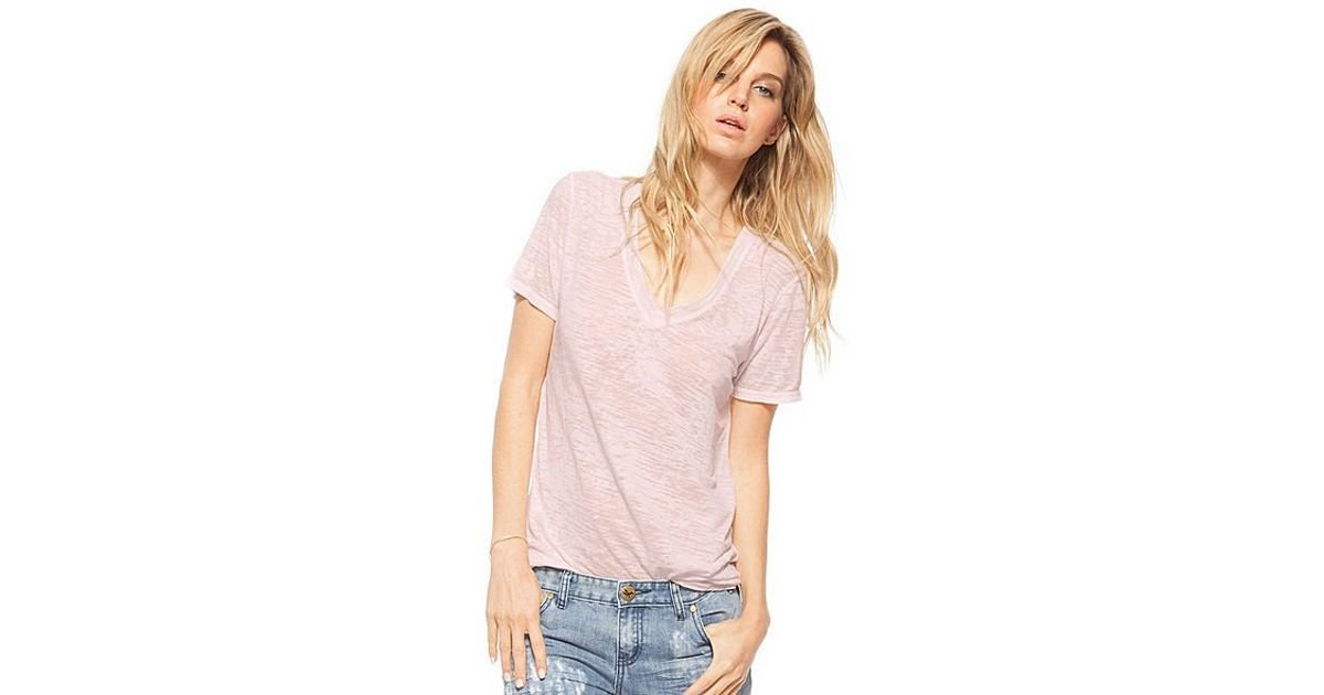 346c5d964898 Lyst - Nation Ltd Allie Deep V Tee in Pink