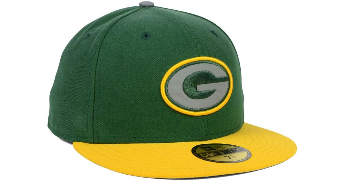 8036fb354b3dc ... italy lyst ktz green bay packers thanksgiving on field reflective  59fifty cap in yellow for men ...