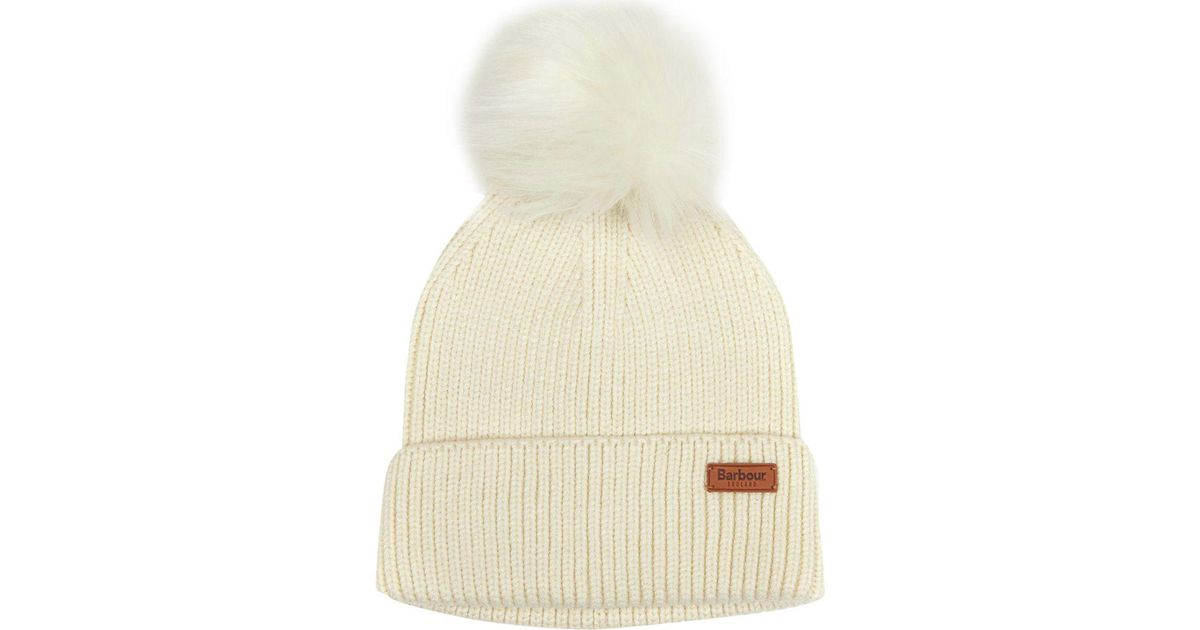 Lyst - Barbour Dove Pom Beanie - in Natural - Save 27% 20b693a9f1d