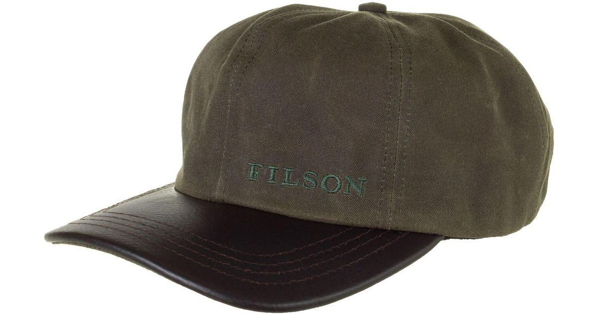 9eaba7ba561 Lyst - Filson Tin Cloth Leather Cap in Green for Men