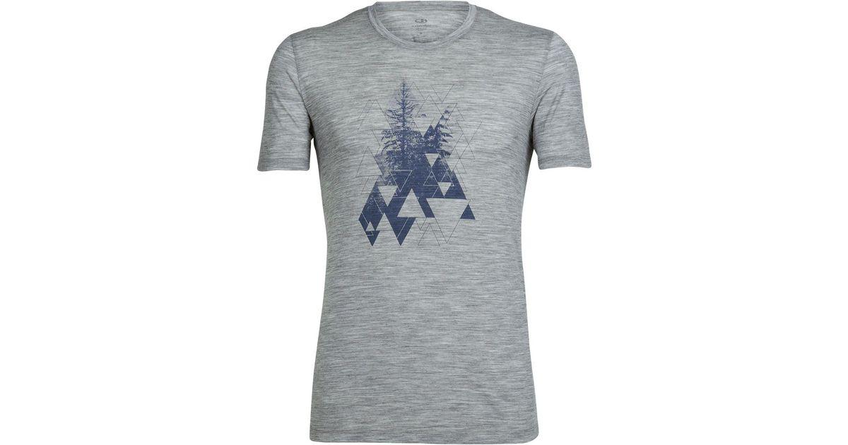 37460b67 Lyst - Icebreaker Tech Lite Short-sleeve Crewe Evergreen Geo Shirt in Gray  for Men