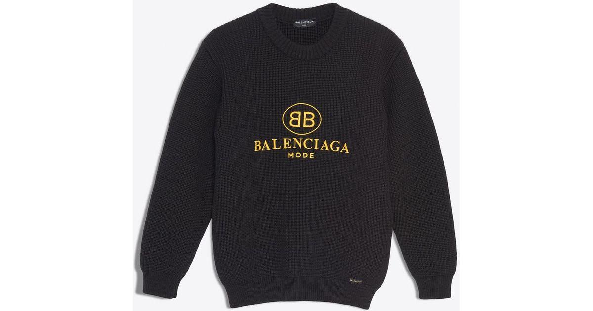 6b8061fda6 Balenciaga Bb Mode Crewneck in Black for Men - Lyst