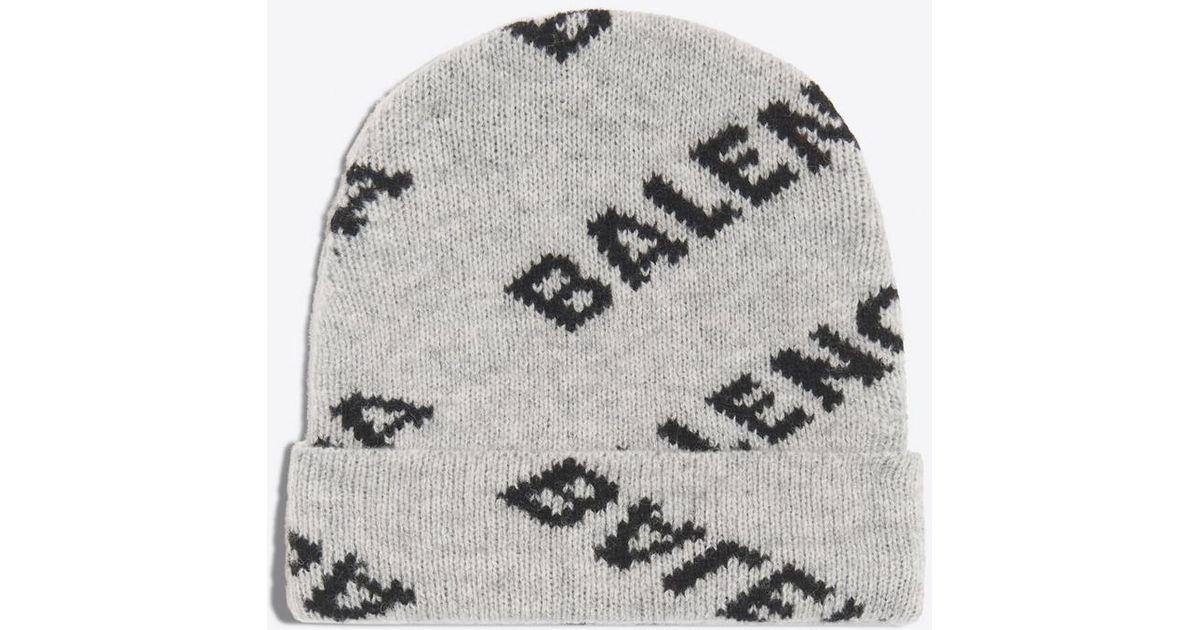 6cf1aaf9a19cf Balenciaga Jacquard Logo Beanie for Men - Lyst