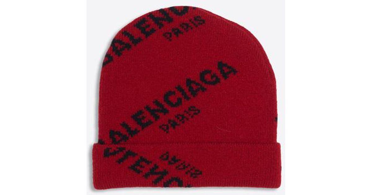 5dc2ae9f82b12 Balenciaga Jacquard Logo Beanie in Red - Lyst