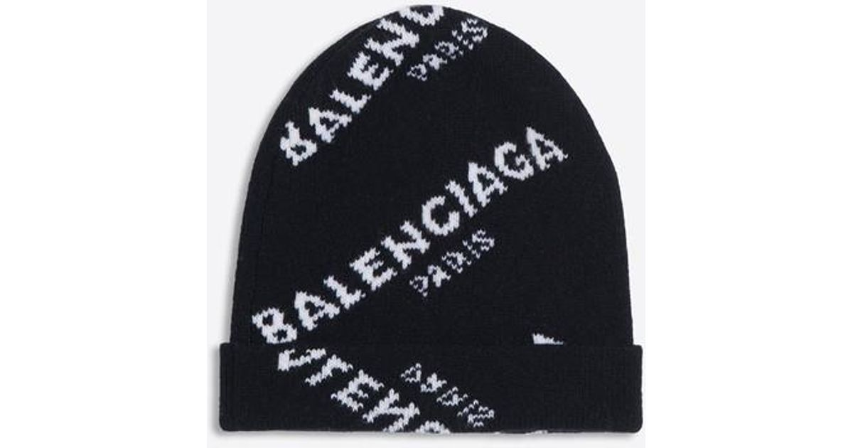 6648490a5ef9e Balenciaga Jacquard Logo Beanie in Black - Lyst