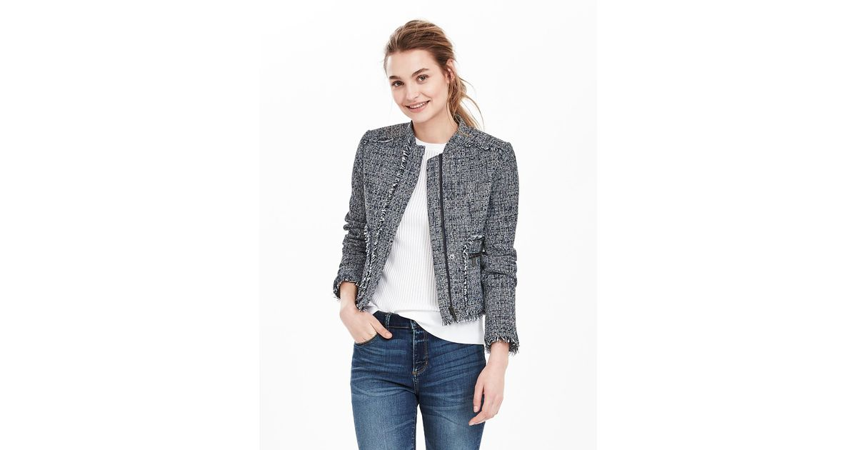 a11eb518a3cea Banana Republic Raw-edge Tweed Moto Jacket in Blue - Lyst