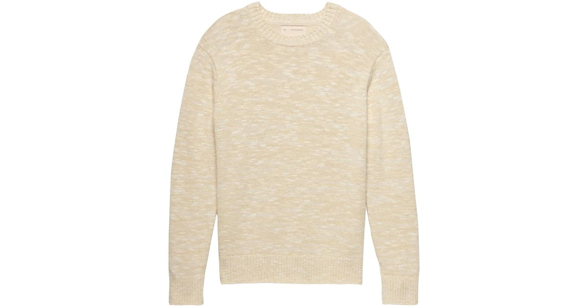 b6e5f04a482 Lyst - Banana Republic Heritage Marled Cotton Crew-neck Sweater in Natural