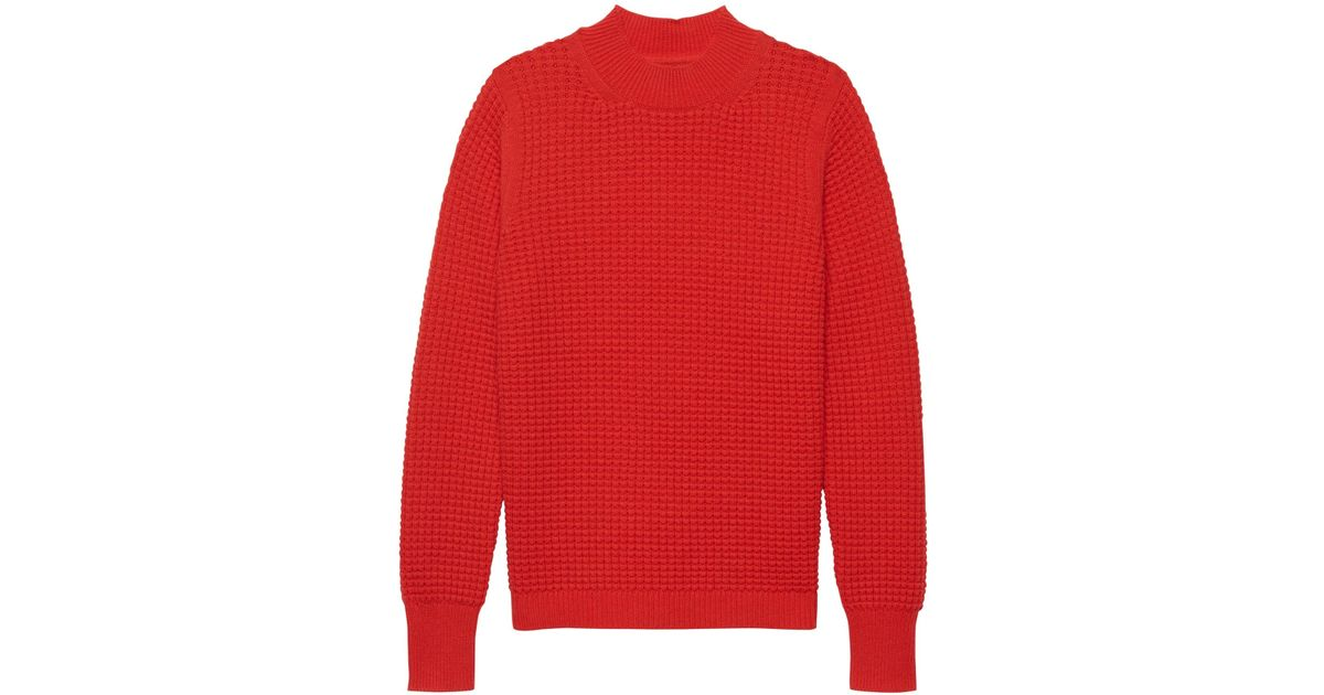 e34d0d45a5e Banana Republic Washable Wool-cashmere Mock-neck Sweater in Red - Lyst