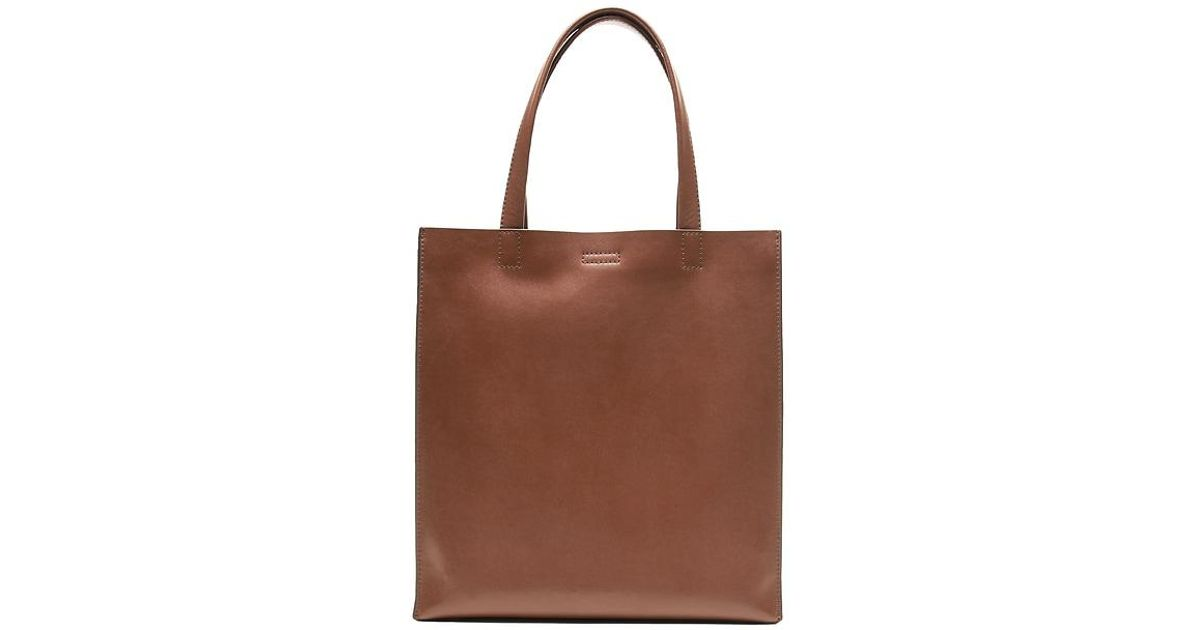 9c807c2373eb Lyst - Banana Republic Portfolio Structured Leather Tall Tote in Brown