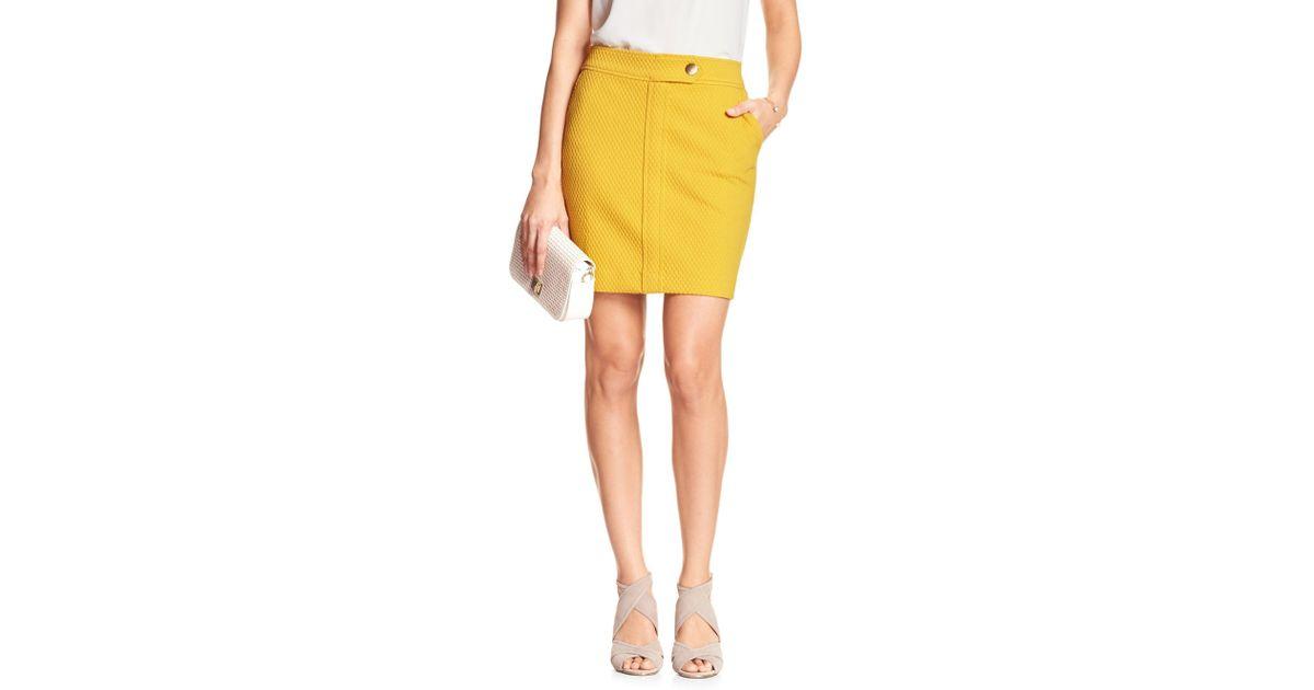c802d1d7c6 Lyst - Banana Republic Factory Button-tab Mini Skirt in Yellow
