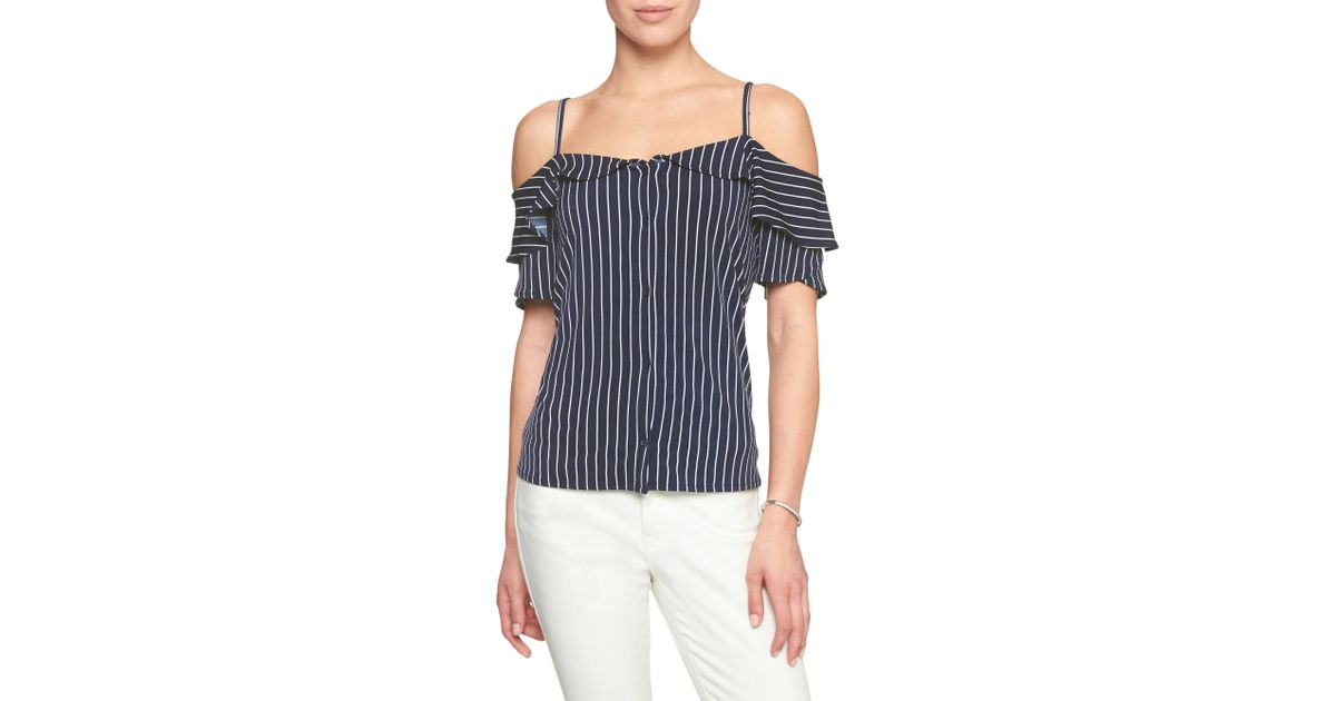32ae867762108 Lyst - Banana Republic Factory Stripe Matte Jersey Off-shoulder Top in Blue