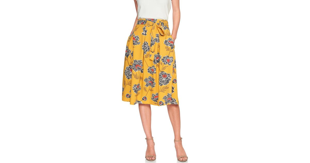 23370b1d20 Banana Republic Factory Petite Tie-waist Pleated Midi Skirt in Yellow - Lyst