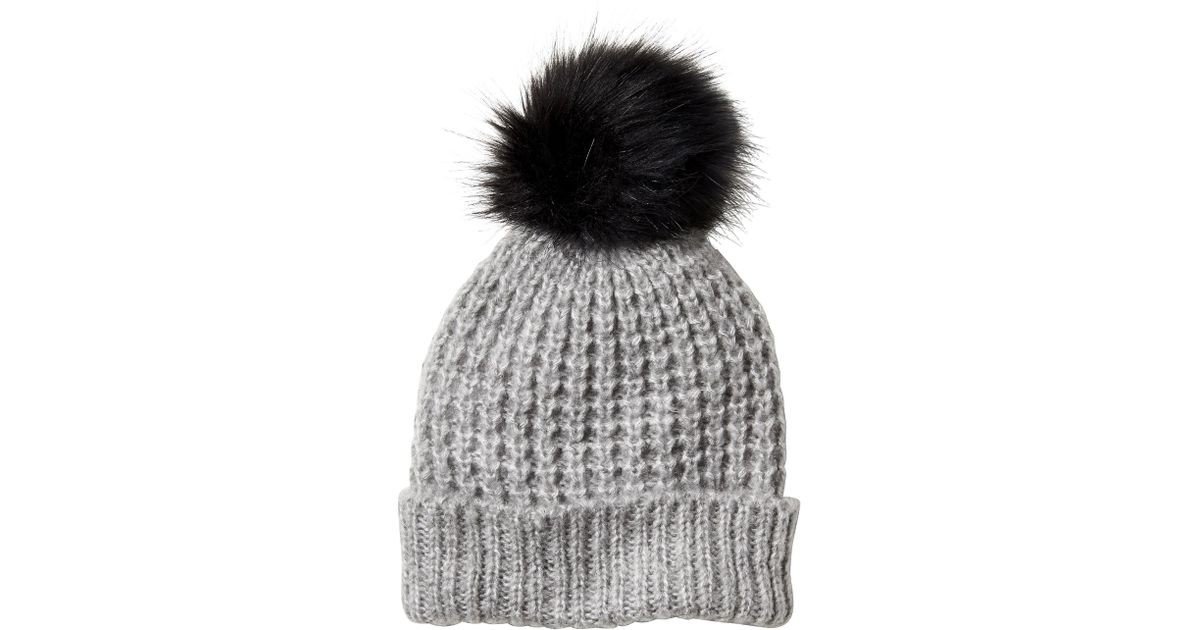 a78c1792aa32 Lyst - Banana Republic Factory Faux Fur Pom-pom Beanie in Gray