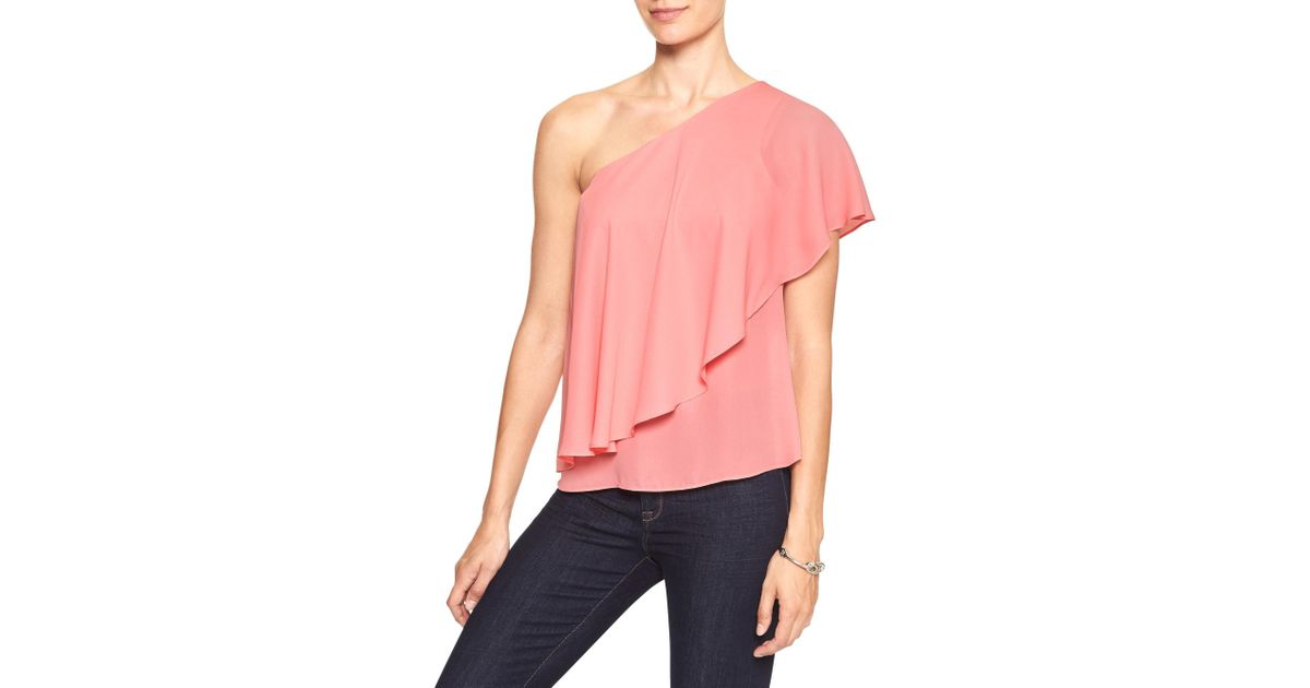 8dd6c52752853 Lyst - Banana Republic Factory Drapey One-shoulder Top in Pink