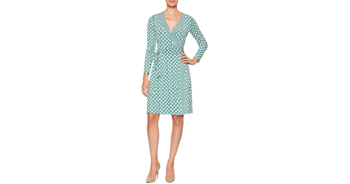 0a3698c896e Banana Republic Factory Print Mixed Stretch Wrap Dress in Green - Lyst