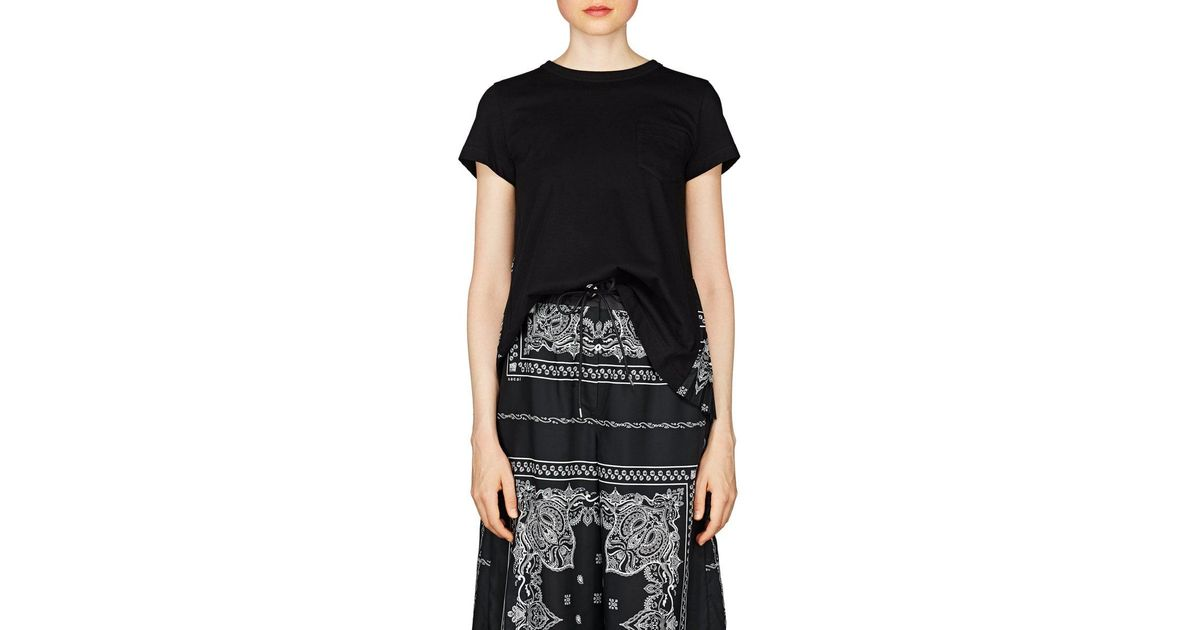 63c85bc3f48 Lyst - Sacai Bandana-print Cotton Swing T-shirt in Black