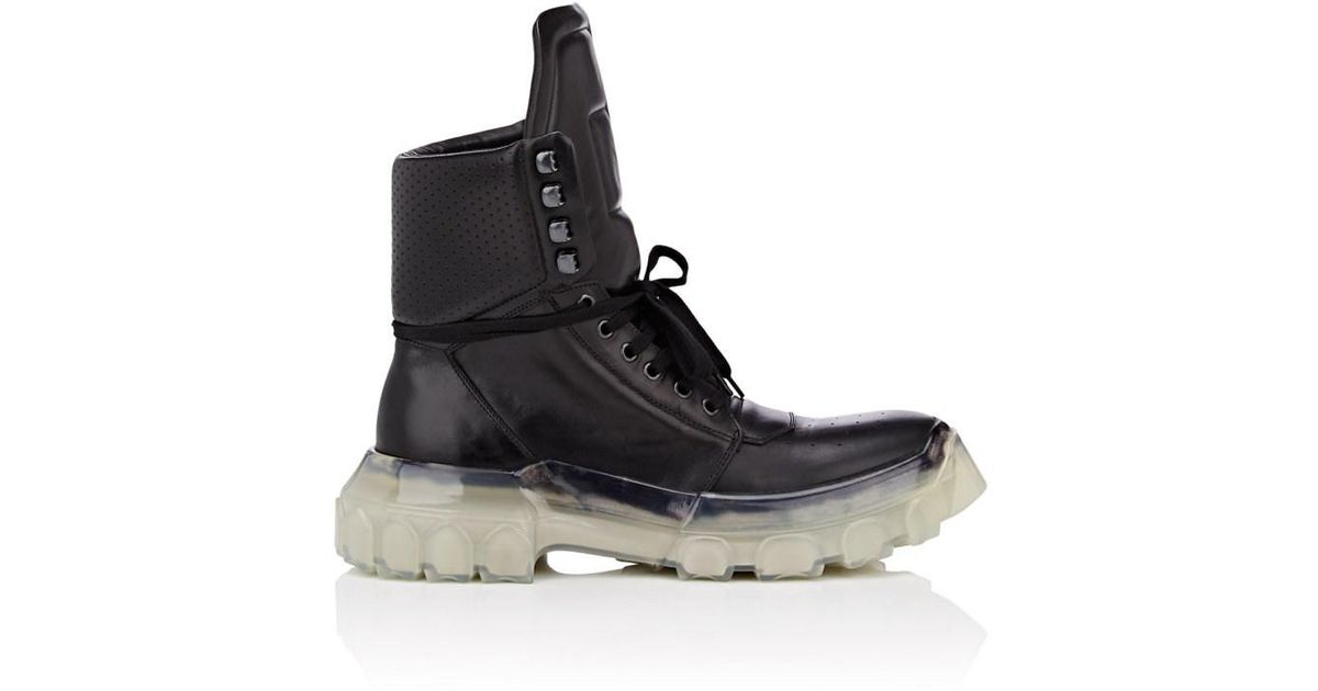 e56ebe2b4b6 Lyst - Rick Owens Tractor Dunk Leather Lace-up Boots in Black for Men