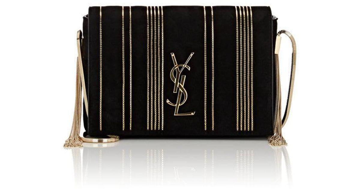 Lyst - Saint Laurent Monogram Kate Small Suede Chain Bag in Black ce3bdd623d