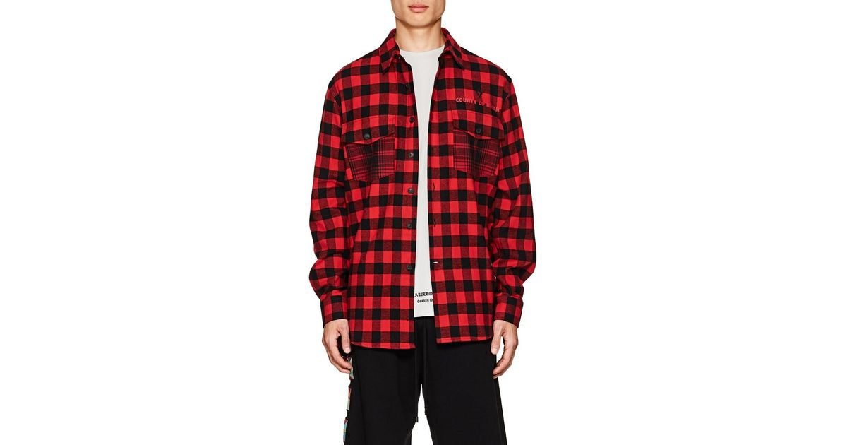 ff2bb2dd9b76 Marcelo Burlon Pit-bull Cotton-blend Flannel Shirt in Red for Men - Lyst