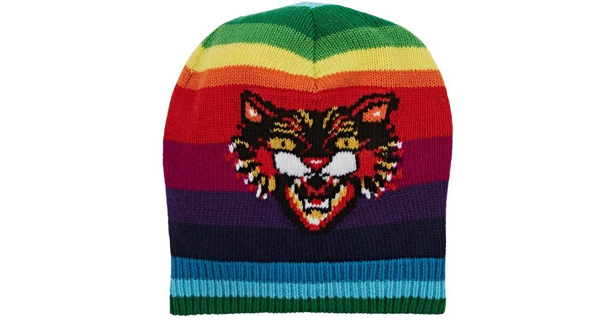 Angry Cat motif beanie hat - Multicolour Gucci 5cI1jE