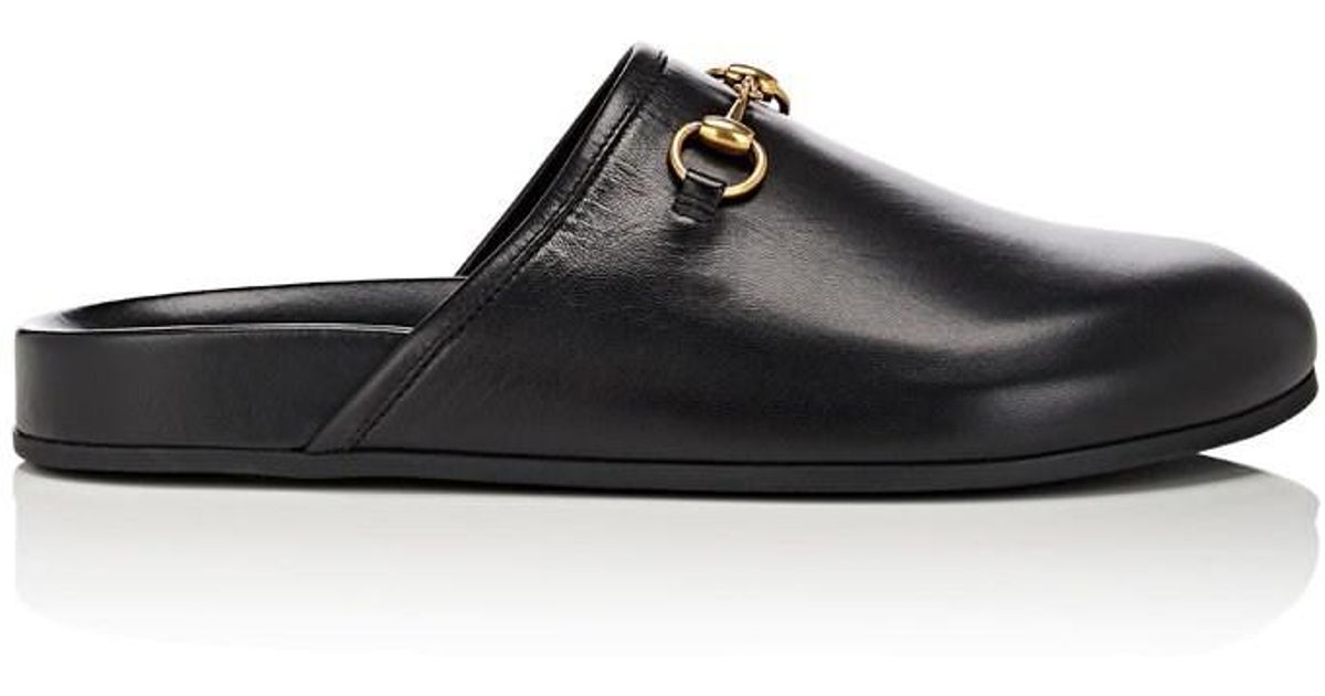 1edaf7dde Gucci River Leather Mules in Black - Lyst