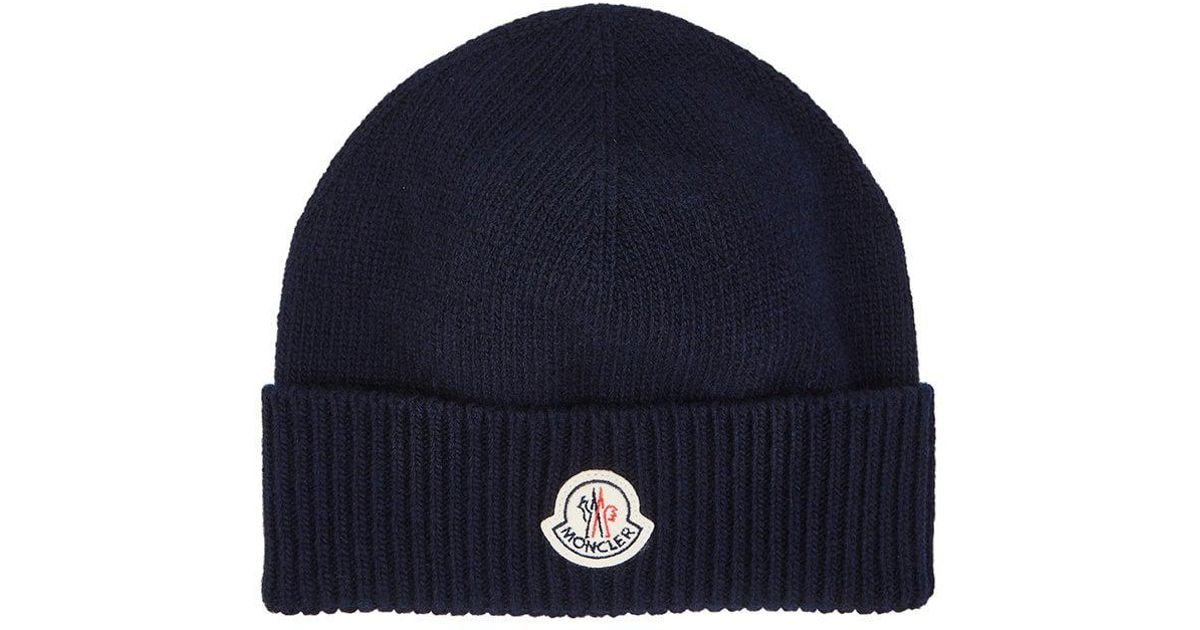 Lyst - Moncler Logo Virgin Wool Beanie in Blue for Men 15934ee054ab
