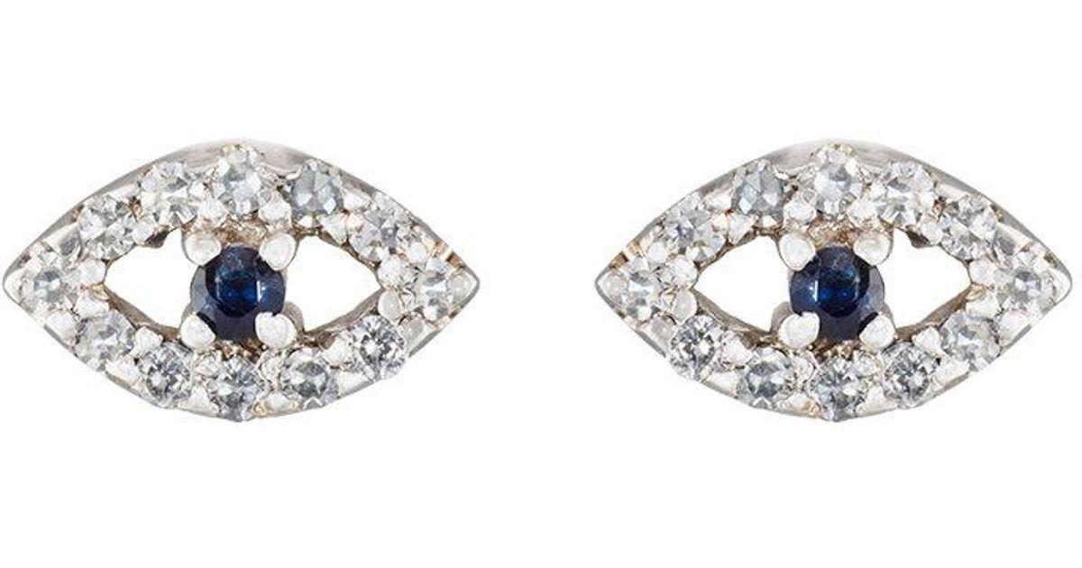 Ileana Makri Womens Kitten Eye Stud Earrings O5Xq9T