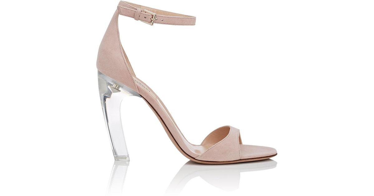 3af931862d64 Lyst - Valentino Acrylic-glass-heel Suede Sandals