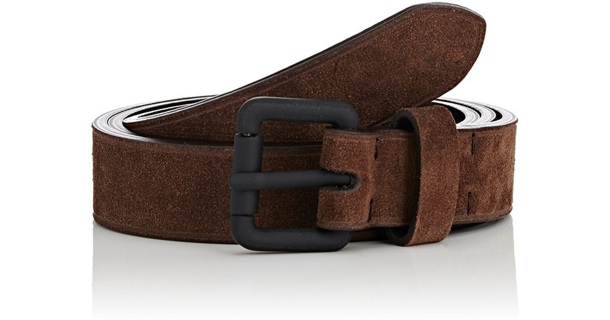 barneys new york suede belt in brown for lyst