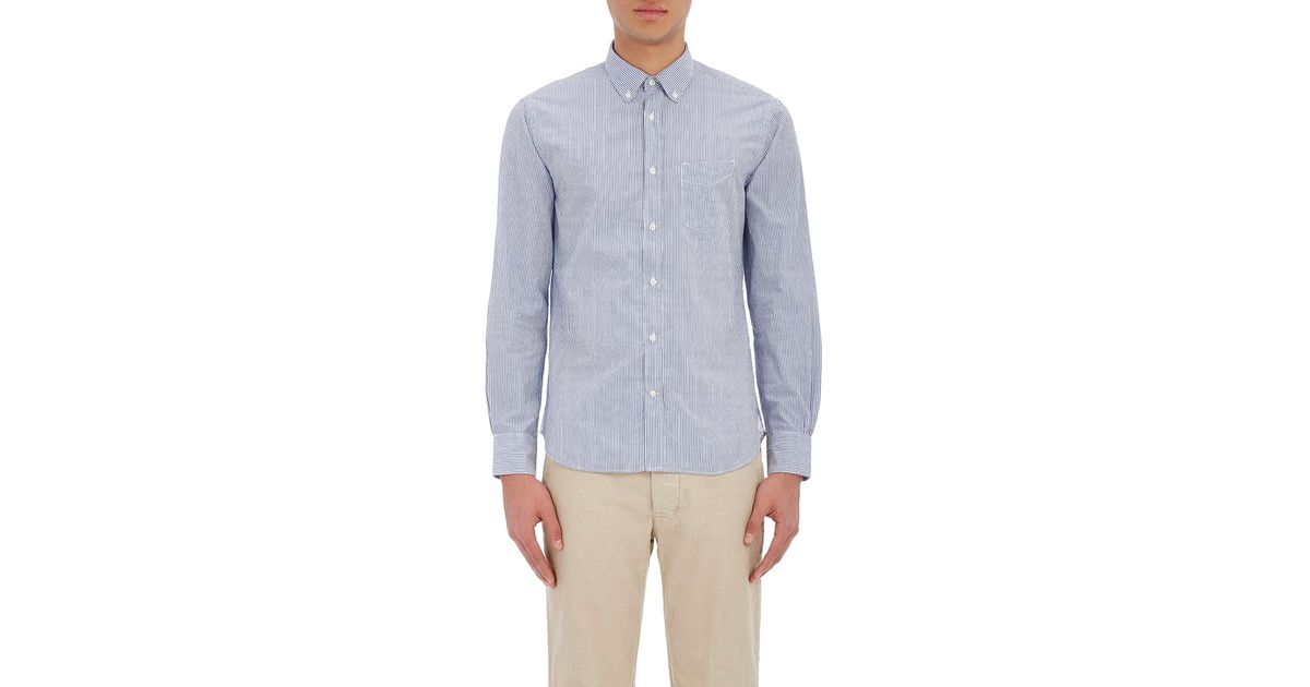 Officine generale striped seersucker shirt in white for for Mens seersucker shirts on sale