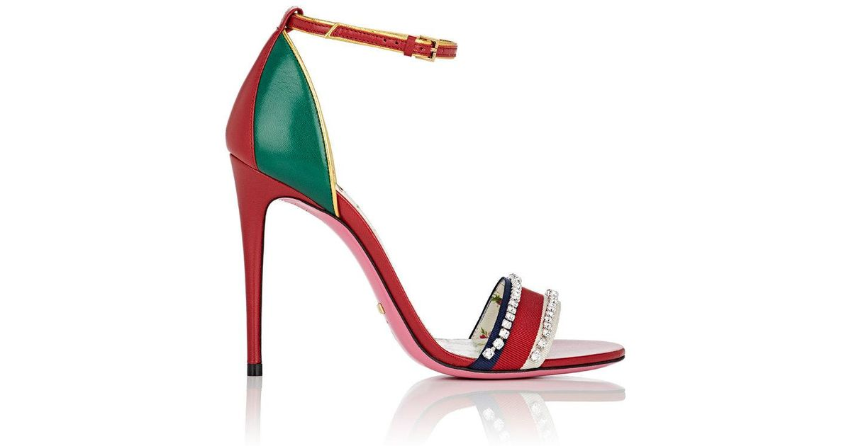 42db29f7c Lyst - Gucci Leather Sandal With Crystals in Red - Save 43%