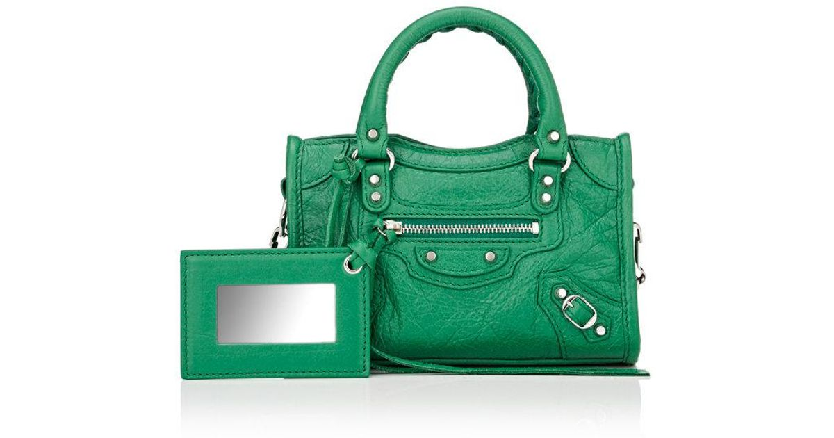 b400e3e5a0e4 Lyst - Balenciaga Arena Leather Classic Nano City Bag in Green