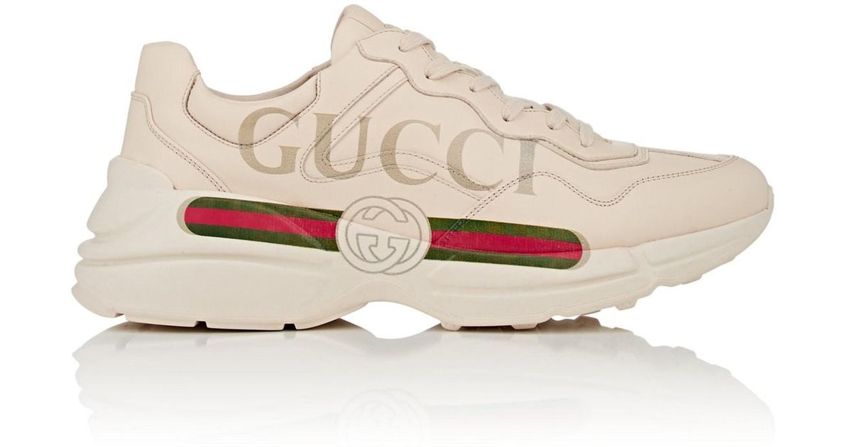 Gucci Rhyton Leather Sneakers in White for Men - Save 19% - Lyst